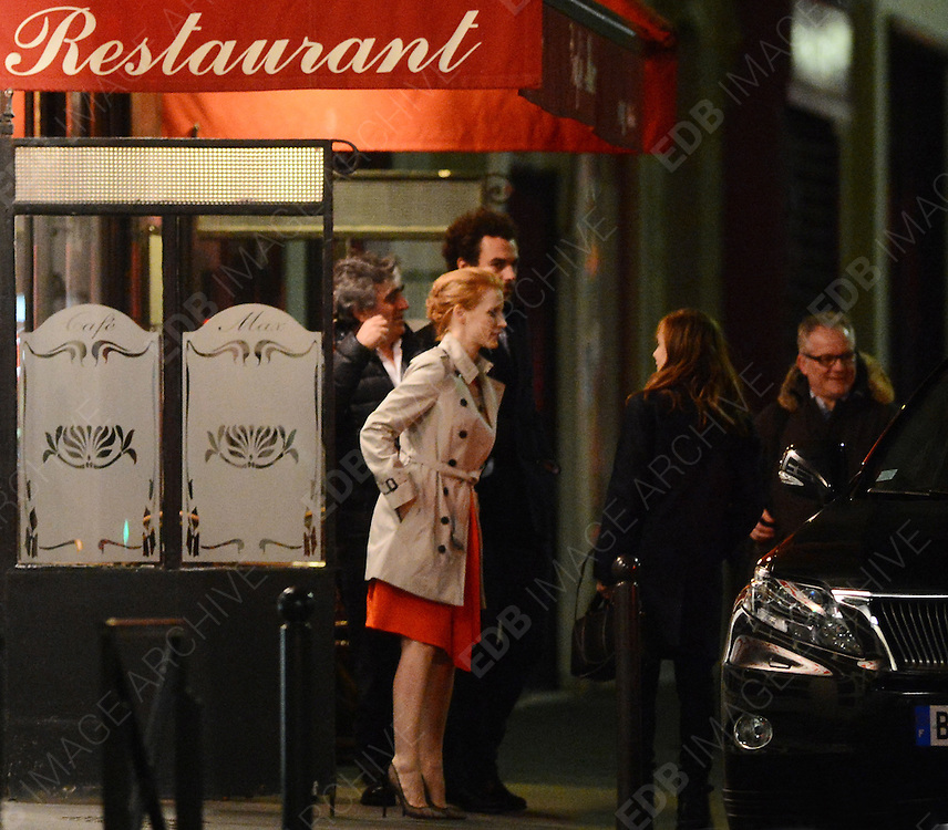 04.MARCH.2013. PARIS<br /> <br /> AMERICAN ACTRESS JESSICA CHASTAIN AND HER BOYFRIEND GIAN LUCA PASSI, AN EXECUTIVE FOR ITALIAN FASHION BRAND MONCLER, ARE LEAVING THE RESTAURANT 'CHEZ MAX' AFTER HAVING DINNER WITH SOME FRIENDS, IN PARIS, FRANCE. <br /> <br /> BYLINE: EDBIMAGEARCHIVE.CO.UK<br /> <br /> *THIS IMAGE IS STRICTLY FOR UK NEWSPAPERS AND MAGAZINES ONLY*<br /> *FOR WORLD WIDE SALES AND WEB USE PLEASE CONTACT EDBIMAGEARCHIVE - 0208 954 5968*