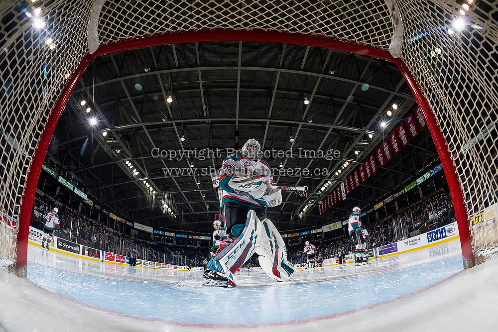 KELOWNA, CANADA - FEBRUARY 8: Roman Basran #30 of the Kelowna Rockets skates to the net at the start of second period against the Prince George Cougars on February 8, 2019 at Prospera Place in Kelowna, British Columbia, Canada.  (Photo by Marissa Baecker/Shoot the Breeze)