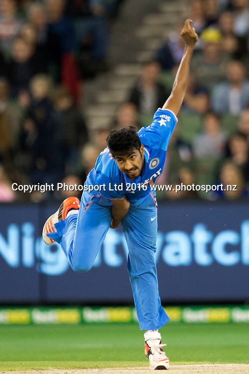 Indian player Jasprit Bumrah in action during the Twenty20 match between Australia and India at the MCG in Melbourne, Australia. Friday 29 January 2016. Copyright photo: Raghavan Venugopal / www.photosport.nz