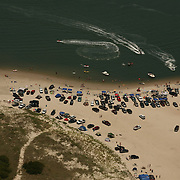 Aerial image of North Carolina Beach, where vehicles are allowed to drive on the strand.