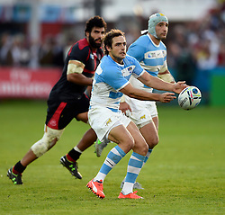 Nicolas Sanchez of Argentina passes the ball - Mandatory byline: Patrick Khachfe/JMP - 07966 386802 - 25/09/2015 - RUGBY UNION - Kingsholm Stadium - Gloucester, England - Argentina v Georgia - Rugby World Cup 2015 Pool C.