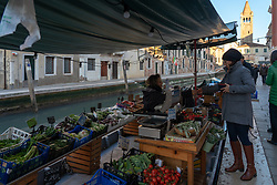 Vendors selling produce on a canal in Venice. From a series of travel photos in Italy. Photo date: Wednesday, February 13, 2019. Photo credit should read: Richard Gray/EMPICS