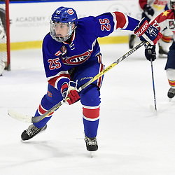 BUFFALO, NY - SEP 20,  2017: Ontario Junior Hockey League Governors Showcase game between the Toronto Jr. Canadiens and Wellington Dukes, Matthew Falls #25 of the Toronto Jr. Canadiens pursues the play during the third period.<br /> (Photo by Andy Corneau / OJHL Images)