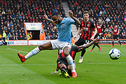 Raheem Sterling (7) of Manchester City is tackled by Nathaniel Clyne (23) of AFC Bournemouth during the Premier League match between Bournemouth and Manchester City at the Vitality Stadium, Bournemouth, England on 2 March 2019.