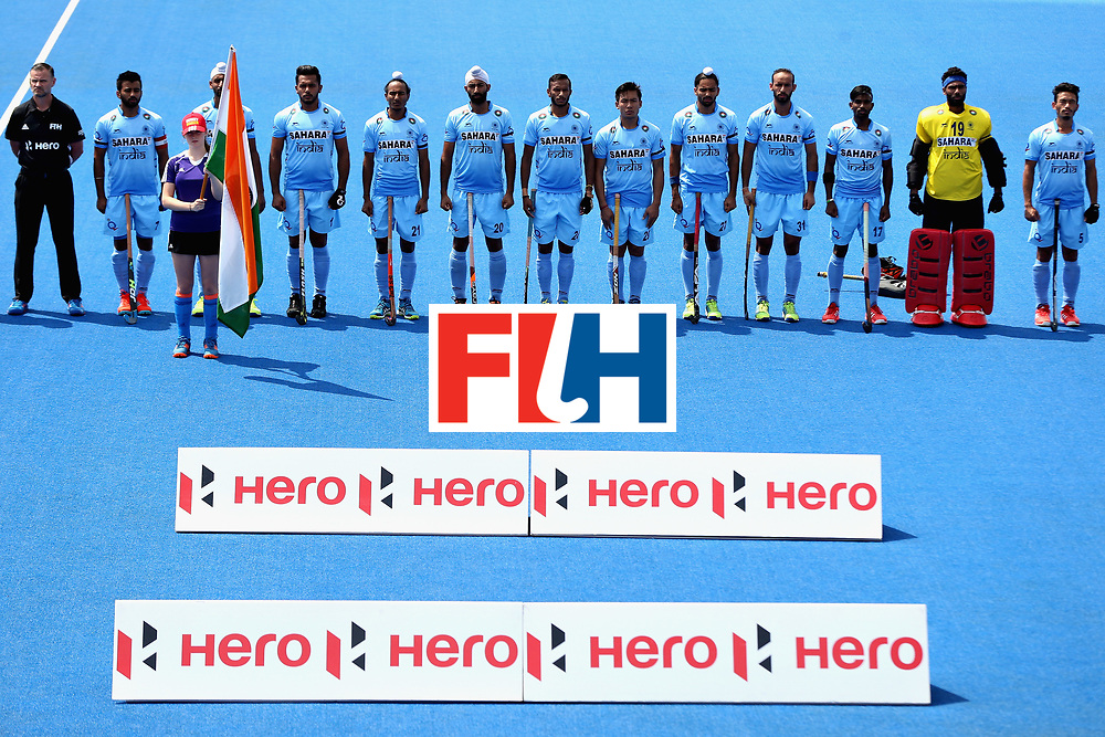 LONDON, ENGLAND - JUNE 18:  The India team line up before the Hero Hockey World League Semi Final match between Pakistan and India at Lee Valley Hockey and Tennis Centre on June 18, 2017 in London, England.  (Photo by Alex Morton/Getty Images)