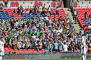 Forest green fans celebrate during the Vanarama National League Play Off Final match between Tranmere Rovers and Forest Green Rovers at Wembley Stadium, London, England on 14 May 2017. Photo by Adam Rivers.