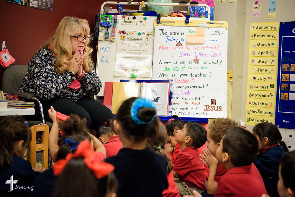 Preschool students in Linda Proeber's class talk about prayer at St. Martini Lutheran School on Tuesday, Nov. 14, 2017, in Milwaukee. LCMS Communications/Erik M. Lunsford