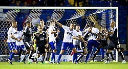 A goal mouth scramble inside the Leicester City 6 yard area - Mandatory byline: Matt McNulty/JMP - 07966386802 - 25/08/2015 - FOOTBALL - Gigg Lane -Bury,England - Bury v Leicester City - Capital One Cup - Second Round