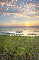 Sunset on the eastern shore of Lake Michigan. Ludington State Park Michigan