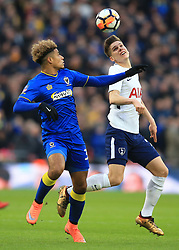 7 January 2018 -  The FA Cup - 3rd Round - Tottenham Hotspur v AFC Wimbledon - Juan Foyth of Tottenham Hotspur in action with Lyle Taylor of AFC Wimbledon - Photo: Marc Atkins/Offside