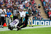 Interception by Bouye, A.J. of the Jacksonville Jaguars during the International Series match between Baltimore Ravens and Jacksonville Jaguars at Wembley Stadium, London, England on 24 September 2017. Photo by Jason Brown.