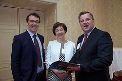 The Ireland - U.S. Council Spring Corporate Lunch on Friday, April 17, 2015 in Clyde Court Hotel, Lansdowne Road, Ballsbridge, Dublin.<br /> <br /> Brendan Dowling, 	Global Irish Economic Forum.<br /> Mike Hannon,	Diaspora Consulting.