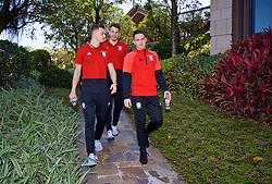 NANNING, CHINA - Tuesday, March 20, 2018: Wales' Billy Bodin, goalkeeper Chris Maxwell and Connor Roberts during a team walk at the Wanda Realm Resort ahead of the 2018 Gree China Cup International Football Championship. (Pic by David Rawcliffe/Propaganda)