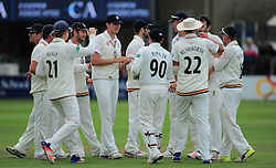 Graham Onions of Durham celebrates the wicket of James Hildreth with his teammates.   - Mandatory by-line: Alex Davidson/JMP - 05/08/2016 - CRICKET - The Cooper Associates County Ground - Taunton, United Kingdom - Somerset v Durham - County Championship - Day 2