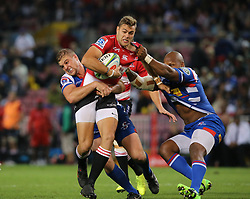 Shaun Reynolds of the Emirates Lions is tackled by Jean-Luc du Plessis of the DHL Stormers during the first half of the Vodacom Super Rugby match between the DHL Stormers and the Emirates Lions at DHL Newlands in Cape Town, South Africa, Saturday May 26 2018. <br /> (Roger Sedres/ANA)