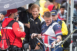 Prince Harry talks to Canadian and British competitors as he attends the Archery finals of the Invictus Games in Toronto, ON, Canada, on Friday September 29, 2017. Photo by Chris Young/CP/ABACAPRESS.COM