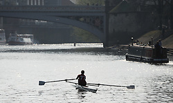 © Licensed to London News Pictures. 21/04/2014<br /> <br /> York, United Kingdom<br /> <br /> Rowers enjoy the river during warm weather in York.<br /> <br /> <br /> Photo credit : Ian Forsyth/LNP