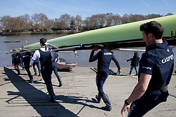 © Licensed to London News Pictures. 06/04/2012. London, U.K..The Oxford crew at The Xchanging Oxford & Cambridge University Boat Race practice and preparation today Friday 6th April ready for The boat race on saturday 7th April...Photo credit : Rich Bowen/LNP
