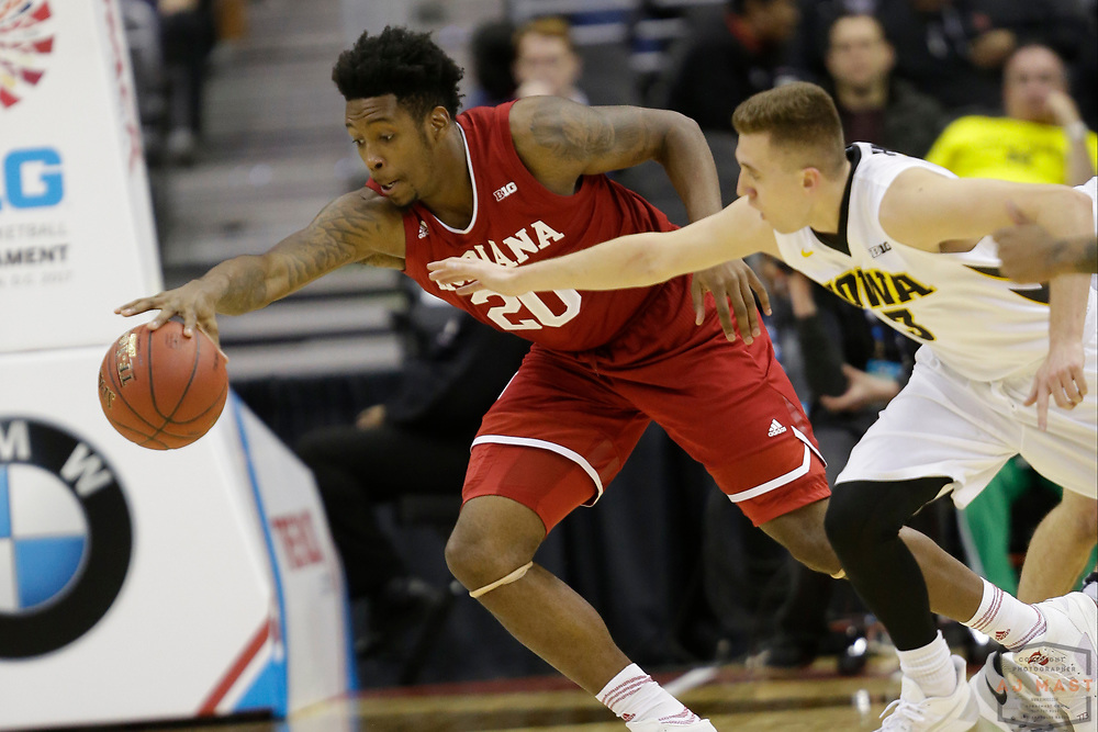 Indiana forward De'Ron Davis (20) in action as Indiana played Iowa in an NCCA college basketball game in the second tournament in Washington, D.C., Thursday, March 9, 2017. (Photo by AJ Mast)
