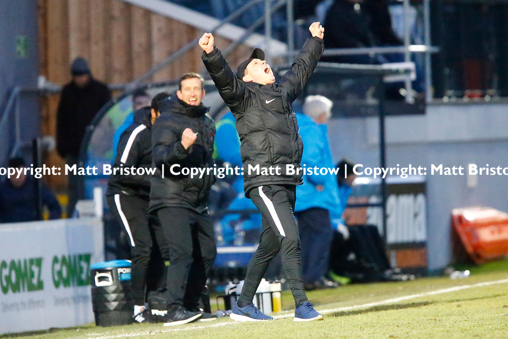 scenes of joy on the Orient bench at the final whistle during the The FA Trophy match between Dover Athletic and Leyton Orient at Crabble Stadium, Kent on 3 February 2018. Photo by Matt Bristow.
