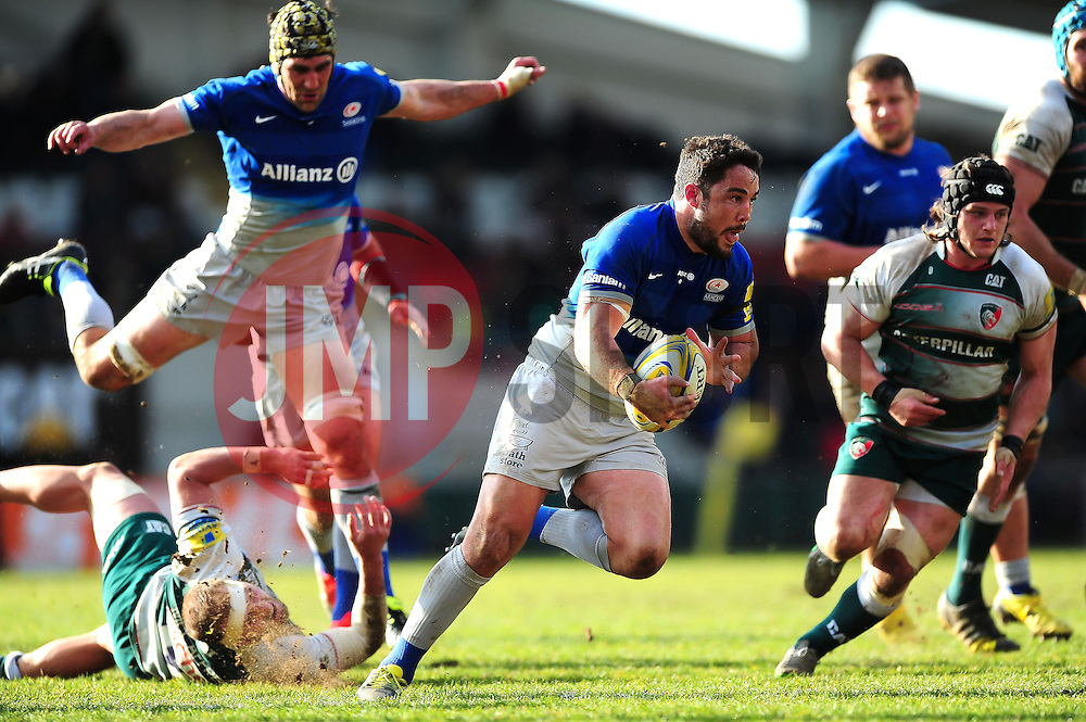 Brad Barritt of Saracens takes on the Leicester Tigers defence - Mandatory byline: Patrick Khachfe/JMP - 07966 386802 - 20/03/2016 - RUGBY UNION - Welford Road - Leicester, England - Leicester Tigers v Saracens - Aviva Premiership.