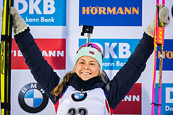 March 8, 2019 - –Stersund, Sweden - 190308 Ingrid Landmark Tandrevold of Norway celebrates her second place at the podium after the Women's 7.5 KM sprint during the IBU World Championships Biathlon on March 8, 2019 in Östersund..Photo: Petter Arvidson / BILDBYRÃ…N / kod PA / 92247 (Credit Image: © Petter Arvidson/Bildbyran via ZUMA Press)