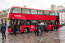 © Licensed to London News Pictures. 04/03/2020. London, UK. The Prince of Wales and The Duchess of Cornwall arrive in a new electric double decker bus at the London Transport Museum to take part in celebrations to mark 20 years of Transport for London. Photo credit: Ray Tang/LNP