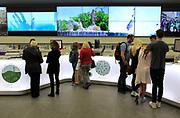 People inside tourist information office, Plaza Mayor, Madrid city centre, Spain