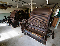Old cotton carding machines inside preserved Stanley Mills  former cotton mills factory in Stanley, Perthshire, Scotland, UK