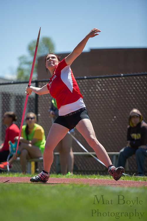 Rutgers Camden senior Stephanie Schuster competes in Women's javelin at the NJAC Track and Field Championships at Richard Wacker Stadium on the campus of  Rowan University  in Glassboro, NJ on Saturday May 4, 2013. (photo / Mat Boyle)