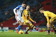 Ben Marshall of Blackburn Rovers puts the Fulham defence under pressure leading to a penalty being awarded during the Sky Bet Championship match between Blackburn Rovers and Fulham at Ewood Park, Blackburn, England on 16 February 2016. Photo by Simon Brady.