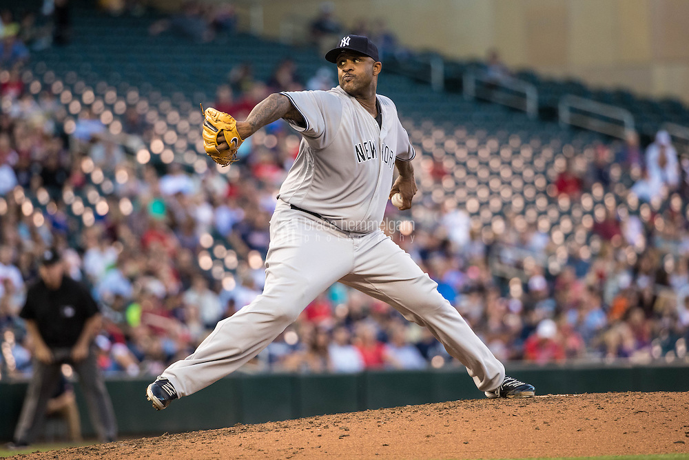 MINNEAPOLIS, MN- JUNE 16: CC Sabathia #52 of the New York Yankees pitches against the Minnesota Twins on June 16, 2016 at Target Field in Minneapolis, Minnesota. The Yankees defeated the Twins 4-1. (Photo by Brace Hemmelgarn) *** Local Caption *** CC Sabathia
