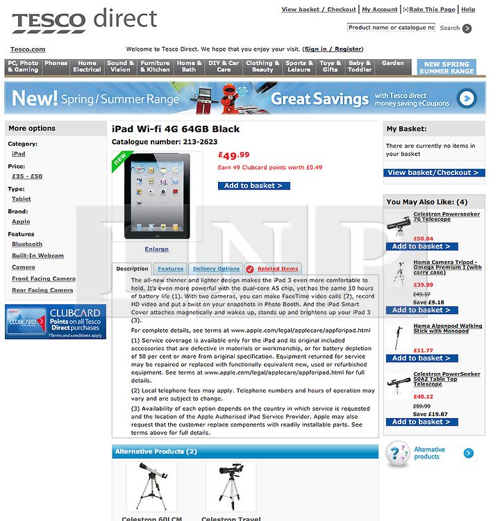 © Licensed to London News Pictures. 13/03/2012. London, UK. An iPad 4G 64GB Black that usually retails on Apple's website for 559GBP appears to be displayed on Tesco direct website for 49.99GBP. Photo credit : LNP