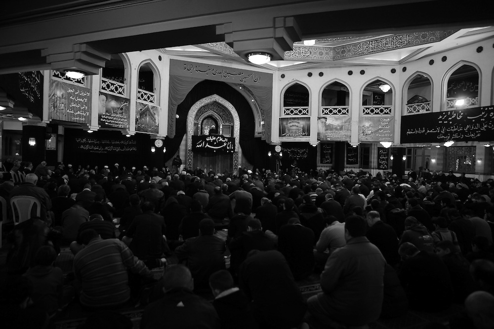 A crowd gathers in the Hassanein mosque on the day of Ashoura.