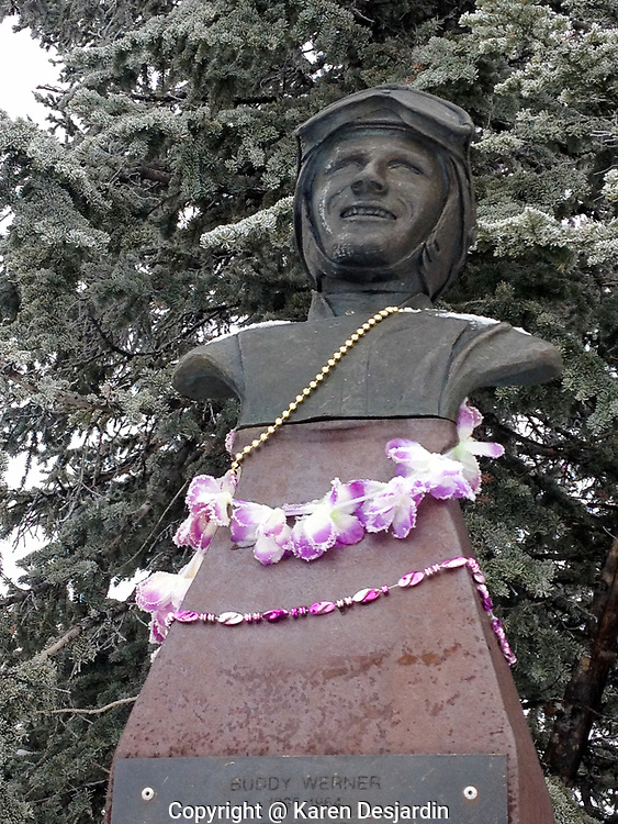The Buddy Werner statue, located on Mt. Werner at the Steamboat Ski Resort, is adorned with decorations.66