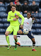 Preston North End Midfielder Daniel Johnson (11) and Brighton central midfielder, Dale Stephens (6) battle for the ball during the Sky Bet Championship match between Preston North End and Brighton and Hove Albion at Deepdale, Preston, England on 5 March 2016.
