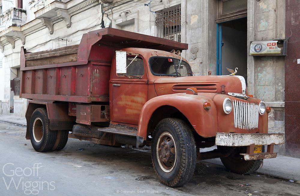 1940s vintage Ford Jailbar tipper truck in Havana, Cuba
