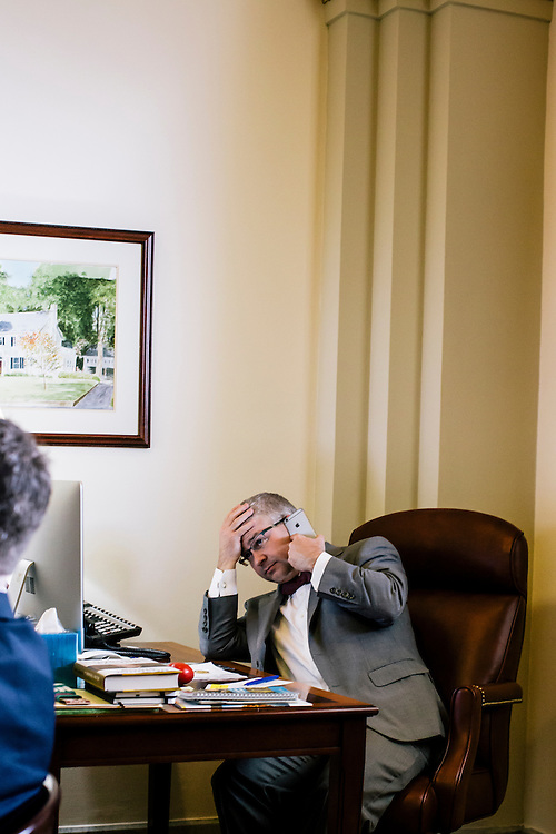 U.S. Rep. Patrick McHenry (R-N.C.), the chief deputy whip of House Republicans, talks to other representatives to see where others are voting for an upcoming bill at his office in the U.S. Capitol on April 23, 2015. McHenry is considered one of the fastest-rising stars of House Republicans.