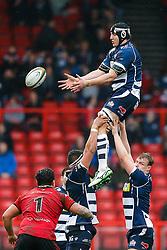 Bristol Rugby Lock Mark Sorenson wins a lineout - Mandatory byline: Rogan Thomson/JMP - 30/01/2016 - RUGBY UNION - Ashton Gate Stadium - Bristol, England - Bristol Rugby v Jersey - Greene King IPA Championship.