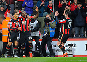 AFC Bournemouth forward Benik Afobe celebrates after scoring his first goal for Bournemouth during the Barclays Premier League match between Bournemouth and Norwich City at the Goldsands Stadium, Bournemouth, England on 16 January 2016. Photo by Graham Hunt.