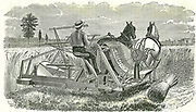 Horse-drawn self-binding reaping machine by Walter A Woods.   An advance on McCormick's reaper of the 1830s which left the cut corn lying in swathes for labourers to gather up and tie into sheaves, this machine delivered bound sheaves.  From 'The Country Gentleman's Magazine', London, 1877. Engraving.