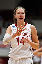 March 21, 2011; Stanford, CA, USA; Stanford Cardinal forward Kayla Pedersen (14) before a free throw against the St. John's Red Storm during the second half of the second round of the 2011 NCAA women's basketball tournament at Maples Pavilion. Stanford defeated St. John's 75-49.