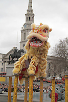 Chinese Lion Dance Chinese New Year - London celebrations, Trafalgar Square, London, UK, 06 February 2011: Contact: Ian@Piqtured.com +44(0)791 626 2580 (Picture by Richard Goldschmidt)