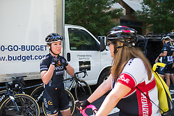 Lucy Garner (GBR) of Wiggle High5 Cycling Team chats to a spectator before Stage 3 of the Amgen Tour of California - a 70 km road race, starting and finishing in Sacramento on May 19, 2018, in California, United States. (Photo by Balint Hamvas/Velofocus.com)