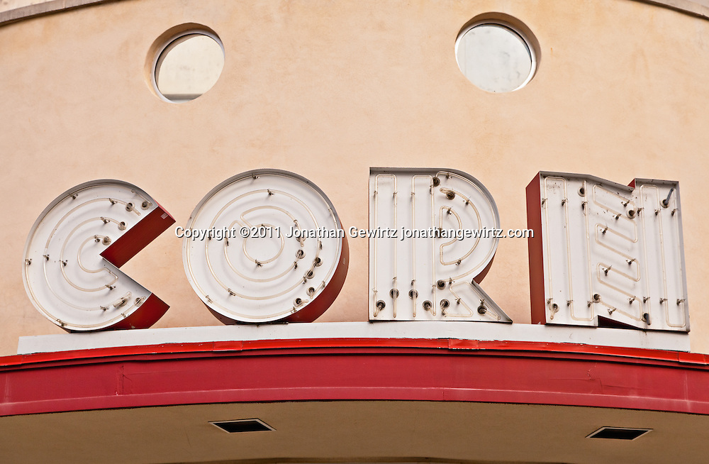 Detail of the Pop Corn neon sign on the main arcade building at Glen Echo Park. WATERMARKS WILL NOT APPEAR ON PRINTS OR LICENSED IMAGES.