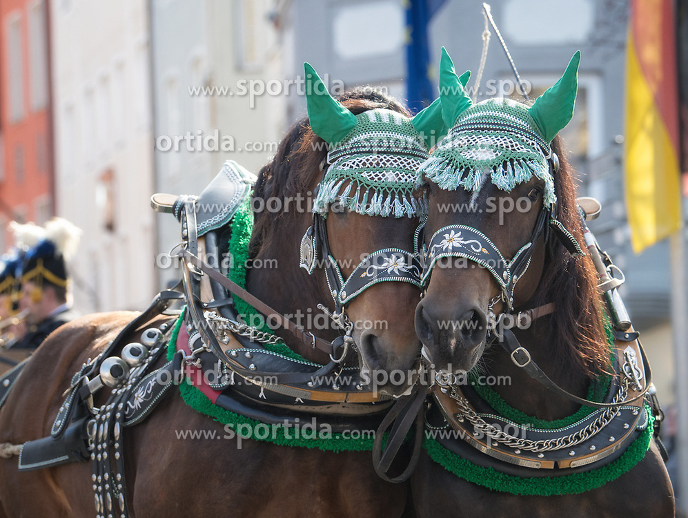 02.04.2018, Traunstein, GER, Georgi Ritt Traunstein 2018, im Bild Pferde // during the traditionell Georgi Ritt on Easter Monday in. in Traunstein, Germany on 2018/04/02. EXPA Pictures © 2018, PhotoCredit: EXPA/ Erst Wukits