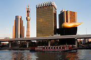 A tourist river cruise boat passes Tokyo Skytree under construction seen behind the  buildings of the Asahi Breweries Headquarters in Asakusa, Tokyo, Japan. Wednesday, December 29th 2010 When finished this telecommunications tower will measure 634 metres from top to bottom making it the tallest structure in East Asia..