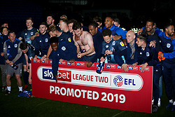 Bury celebrates after the final whistle of the match - Mandatory by-line: James Healey/JMP - 30/04/2019 - FOOTBALL - Prenton Park - Birkenhead, England - Tranmere Rovers v Bury - Sky Bet League Two
