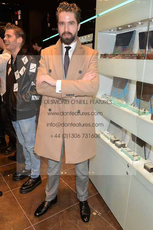 JACK GUINNESS at a party in celebration of LCM 2015 and the launch of the Tateossian's first ever men's-only boutique at 55 Sloane Square, London on 10th January 2015.
