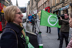 Pictured: Lorna Slater flies the flag for the Scottish Greens<br />